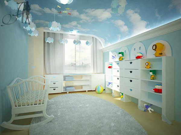 Идеи потолков в детской комнате фото